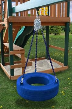 Our newly designed tire swing is much better than you may remember from your childhood! This is a commercial grade tire swing!