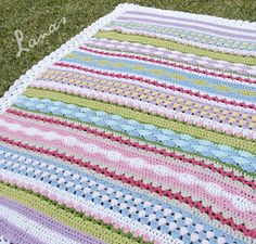 TFantasy Blanket by Ana Contreras. he Fantasy Blanket is a crochet blanket made with medium yarn, using a variety of stitches and colors. It was inspired by a Stash-busting Challenge at Lanas de Anas Crochet Home, Love Crochet, Crochet Crafts, Crochet Projects, Knit Crochet, Easy Crochet, Diy Crafts, Baby Blanket Crochet, Crochet Blankets