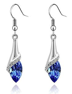 * Penny Deals * - Colorstation Women Fashion Jewelry Crystal Drop Shaped Dangle Earrings Color Blue * Click image for more details.