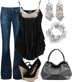 """Sparkle and Shine"" by missteacherlady on Polyvore (with heels not wedges)"