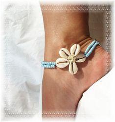Flower Shells  Island Girl Blue  Anklet~~~