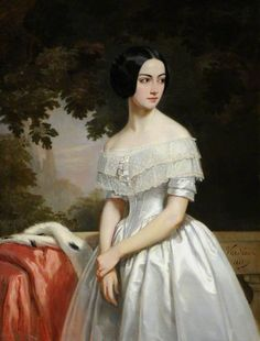 1843 Mary Matthews Madame de La Chere by Marcel-Antoine Verdier Date painted: 1843 Oil on canvas, 115 x 88 cm Collection: National Trust Victorian Paintings, Victorian Art, Victorian Fashion, Victorian Portraits, Historical Costume, Historical Clothing, Marcel, Classic Paintings, Classical Art