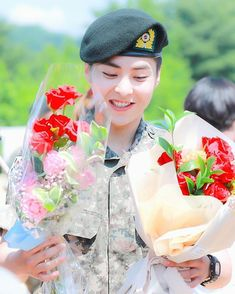 """""""Congratulations to Private Kim Minseok and Private Doh Kyungsoo on their promotion into Private First Class today! We missed you guys so much, can't wait for the day where we're all together again 💚"""