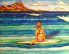 Surf Art - Waikiki, Hawaii Surfer Girl -  Diamond Head, Ocean - Colorful, Pretty