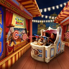 Ride and shoot moving targets on Toy Story Midway Mania!, a 4D shootin' game in Disney's Hollywood Studios starring your favorite Toy Story characters!