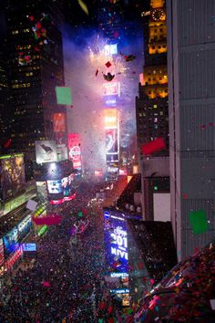 Confetti rains down on Times Square to celebrate the start of 2014.