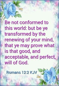 Romans 12:2 KJV - And be not conformed to this world: but be ye transformed by the renewing of your mind, that ye may prove what is that good, and acceptable, and perfect, will of God.