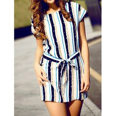 Stylish Scoop Collar Short Sleeve Striped Women's Dress
