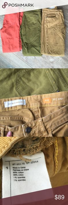 Lot of Anthropologie pilcro colored denim Euc 27 Orange olive and golden tan waist is 32 inseam is 29 all in perfect condition Anthropologie Pants Ankle & Cropped