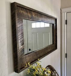 Barn Wood Mirror, Hallway Mirror, Barn Wood Frames, Old Mirrors, Rustic Mirrors, Handmade Mirrors, Mirror Makeover, Bedroom Layouts, Home And Deco
