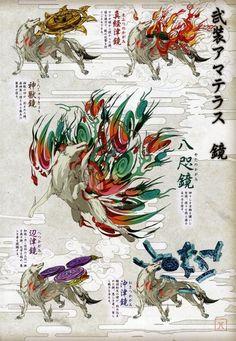 La première arme d'Amaterasu dans Ōkami est le bouclier miroir, directement adapté de Yata no Kagami (le miroir de Yata), le 1er des 3 trésors sacrés du Japon. Dans la mythologie japonaise, Yata no Kagami est le bouclier miroir que l'infinité des kamis...