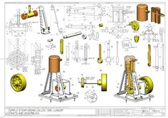 Risultati immagini per mini steam engine blueprints Diy Cnc, Mechanical Design, Mechanical Engineering, Mechanical Art, Compressed Air Engine, Mini Steam Engine, Stirling Engine, Autodesk Inventor, Small Engine