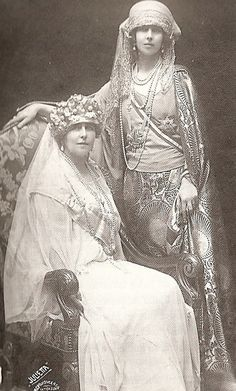 1914-Infanta Beatriz (Bee) with her sister Marie (Missy) at the coronation of Missy's husband Ferdinand as King of Romania.