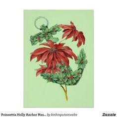 Shop Poinsettia Holly Anchor Nautical Holiday Card created by kinhinputainwelte. Nautical Invitations, Vintage Invitations, Invitation Paper, Vintage Greeting Cards, Poinsettia, Vintage Christmas, Paper Texture, Holiday Cards, Anchor