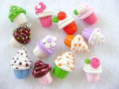 Encantos de Cupcake de arcilla de polímero conjunto de 3