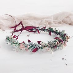 A personal favorite from my Etsy shop https://www.etsy.com/listing/560684543/fall-burgundy-flower-crown-bridal-crown