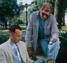 Tom Hanks and Robert Zemeckis. On the set of Forrest Gump