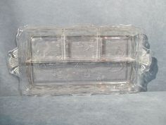 Etched tray with flowers Divided into 3 sections. Etched Glass, Glass Etching, Cut Glass, Clear Glass, Holiday Tables, Ferns, Divider, Tray, Handle