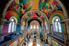 A historic church in Llanera, Spain, transformed into a colorful skate park, created by Okuda San Miguel. Images credit Red Bull Media More at La Iglesia Skate… The New Yorker, Transformers, Okuda, Temple, Les Religions, Old Churches, Arte Popular, Skate Park, Psychedelic Art