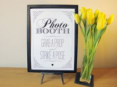 Photo Booth  A4 wedding sign  vintage / rustic style by HelloMyGem, £4.00