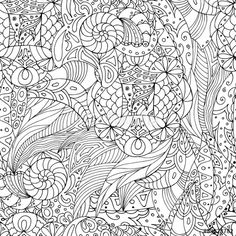 Vector: Seamless black and white pattern in a zentangle style, handmade