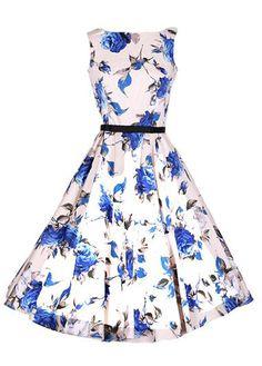 Sleeveless Flower Print A Line Dress on sale only US$25.90 now, buy cheap Sleeveless Flower Print A Line Dress at lulugal.com