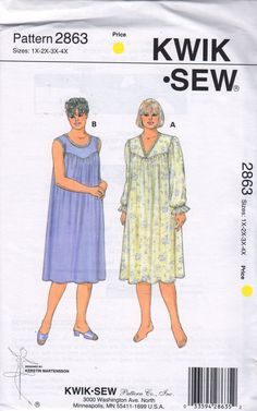 Kwik Sew 2863 1990s Womens Silky NIGHTGOWN Pattern V Neck or Scoop Neckline plus size sewing pattern by mbchills