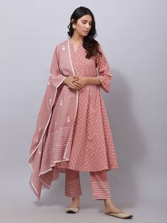 Old Rose Polka Printed Cotton Suit - Set of 3 Stylish Dresses, Women's Fashion Dresses, Trendy Outfits, Casual Dresses, Casual Wear, Dress Indian Style, Indian Dresses, Indian Wear, Indian Clothes