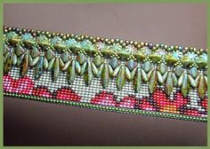 loom cuff with fringe on top of the cuff - Beads Beading Beaded, with Erin Simonetti Beaded Jewelry Designs, Bead Jewellery, Seed Bead Jewelry, Seed Bead Patterns, Beading Patterns, Peyote Patterns, Bead Loom Bracelets, Tear, Beads And Wire