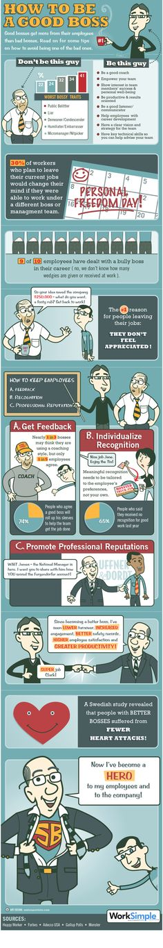 #Infografia de cómo ser un buen jefe (how to be a good boss) #hr #careers