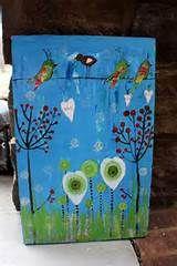 Whimsical Bird mixed media painting on wood panel