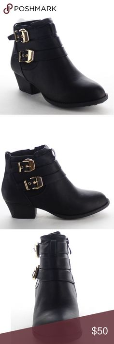 "Top Mada Black Buckle Low Heel Ankle Booties SYNTHETIC - LEATHER- BRAND NEW WITH BOX - MADE IN USA - SYNTHETIC SOLE - 0.5"" PLATFORM Shoes Ankle Boots & Booties"