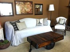 Reproduction Antique Warehouse Cart Coffee Table