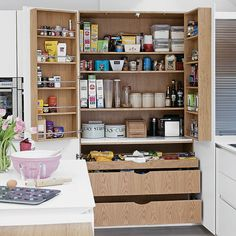 Looking for family kitchen design ideas? Choose your family kitchen from our inspirational photo gallery of functional family design kitchen ideas Kitchen Larder, Kitchen Pantry Design, Kitchen Storage, Family Kitchen, New Kitchen, Kitchen Ideas, Pantry Inspiration, Kitchen Diner Extension, Handleless Kitchen