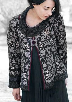 "Swedish folklore designer Gudrun Sjodén and her ""Saga"" cardi"