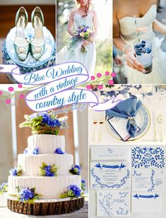Vintage country summer wedding colors in soft blues as featured on the Wedding Bistro at Bellenza. #blueweddings #vintagecountryweddings