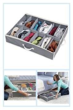 Shoes Under Shoe Storage Organizer In Grey - Use the Shoes Under Shoe Organizer to keep your footwear tidy. This ergonomic container keeps up to 12 pairs of shoes organized and out of the way. Simply slide it under your bed to keep your shoes ready for when you need them.
