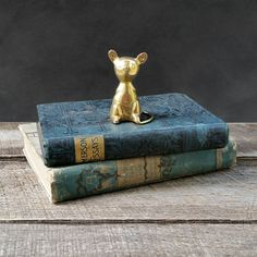 Vintage Brass Mouse Figurine Gold Mouse by TheCherryAttic