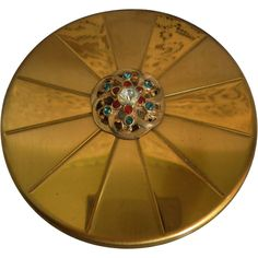 Round Gold Tone Jewelled Powder Compact