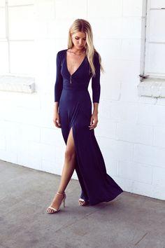 Garden District Navy Blue Wrap Maxi Dress 8