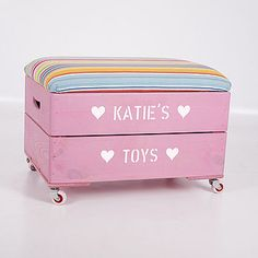 personalised wooden toy box with padded lid by plantabox | notonthehighstreet.com