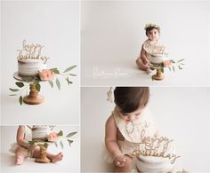One Year Neutral/Peach/Cream Cake Smash for a girl. Photographer located in Georgetown, KY near Lexington, KY. Outfit by Joy Marie (http://www.joymarieclothing.com/) Photographer: www.brittaniebrown.com