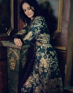 Actress Eva Green wears rich brocades with Dolce & Gabbana coat and Gucci pants