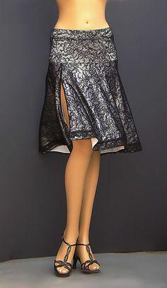 TD-005 black lace tango skirt