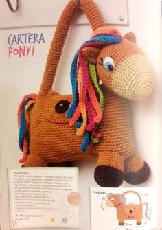Handbag Pony - Amigurumi - Pattern in Spanish ~ Crochet for You Mochila Crochet, Crochet Pouch, Crochet Backpack, Crochet Dolls, Crochet Yarn, Crochet Horse, Kids Purse, Animal Bag, Kids Bags
