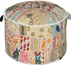 White Bohemian Vintage Patchwork Indian Pouf Large Round Ottoman Seat Stool Embroidered Pouffe round cotton stool chair bench foot stool on Etsy, $44.99