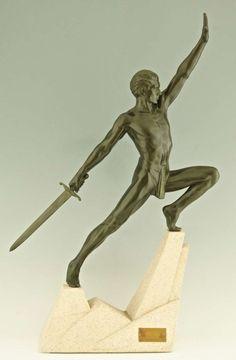 "Art Deco bronze sculpture, ""Sword Fighter on a Rock,"" by Max Le Verrier."