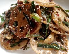 Lotus root stir fry- I am going to try it tonight using less than the recommended amount of red pepper.