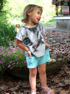 a94ecbe91b49 Pantaloncini bambina in cotone biologico AURORA Bellissimo pantaloncino  corto