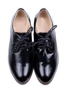 Black Pointed Toe Lace-up Shoes from choies.com
